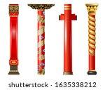 Vector Set Of Red Oriental...
