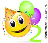 smiley with balloons  having a... | Shutterstock . vector #163534076