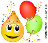 smiley with balloons  having a... | Shutterstock . vector #163534118