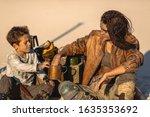 Post Apocalyptic Woman And Boy...
