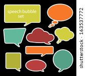 set of speech bubbles in flat...