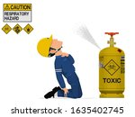 a worker is injured by the... | Shutterstock .eps vector #1635402745