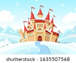 medieval castle on winter... | Shutterstock .eps vector #1635507568