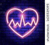 heart with cardiogram neon... | Shutterstock .eps vector #1635539395