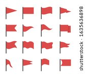 red flags. red flag icon set ... | Shutterstock .eps vector #1635636898