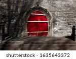 Red Church Door Surrounded By...