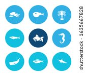 fish icon set and sea horse...