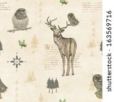 Seamless pattern with deer, owl and bird