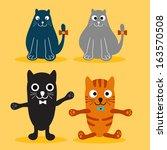 set of various cute cats | Shutterstock . vector #163570508