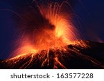 night eruption volcano... | Shutterstock . vector #163577228