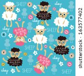 Stock vector cute and funny sheep pattern with colorful buttons vector illustration 163577402