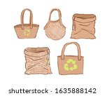 set of eco bags in hand draw... | Shutterstock .eps vector #1635888142