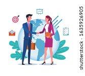 global cooperation. business... | Shutterstock .eps vector #1635926905