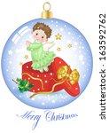 christmas ball with christmas... | Shutterstock .eps vector #163592762
