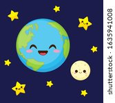 cute earth  moon and stars in...   Shutterstock .eps vector #1635941008
