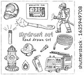 hydrant hand drawn doodle set.... | Shutterstock .eps vector #1635949708