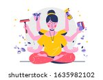 indian woman with many hands in ... | Shutterstock .eps vector #1635982102
