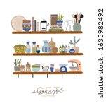 stylish scandinavian kitchen... | Shutterstock .eps vector #1635982492