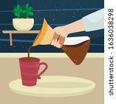 the girl pours coffee from... | Shutterstock .eps vector #1636038298