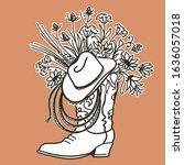 Cowboy Boot With Flowers And...