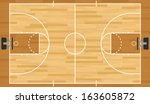 A realistic vector hardwood textured basketball court. EPS 10. File contains transparencies.  - stock vector