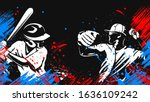 Baseball player. Baseball cap. Hitter swinging with bat. Abstract isolated vector silhouette. Iink drawing