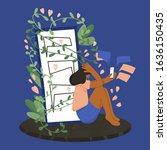 social media anxiety. mental... | Shutterstock .eps vector #1636150435