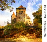 medieval castle in Germany - artwork in painting style - stock photo