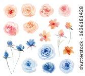 watercolor flowers set. perfect ... | Shutterstock . vector #1636181428