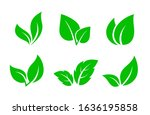 set of abstract isolated green... | Shutterstock . vector #1636195858