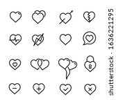 set of heart line icons.stroke...