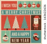 retro christmas design | Shutterstock .eps vector #163622636