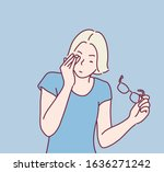young woman has pain in the eye.... | Shutterstock .eps vector #1636271242
