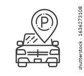 free parking black line icon....