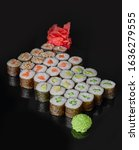 sushi rolls maki set with fresh ...   Shutterstock . vector #1636279555