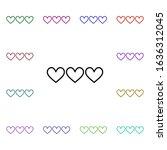 3 heart multi color style icon. ...