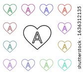 heart with letter a multi color ...