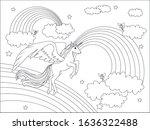 beautiful unicorn flying on... | Shutterstock .eps vector #1636322488