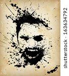 ink splatter portrait of a... | Shutterstock .eps vector #163634792