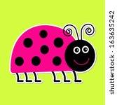 cute cartoon pink lady bug....   Shutterstock .eps vector #163635242