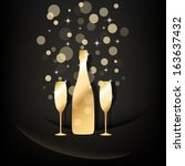 gold bottle and two glasses of... | Shutterstock .eps vector #163637432