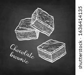 chocolate brownie. chalk sketch ... | Shutterstock .eps vector #1636414135
