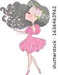 cute little princess girl.... | Shutterstock .eps vector #1636463962