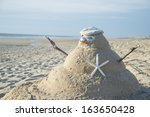 Snowman On Beach With Shells As ...