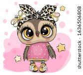 cute cartoon owl on a pink... | Shutterstock .eps vector #1636506808
