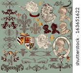 vector set of luxury royal... | Shutterstock .eps vector #163651622