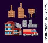 brewing  beer production. pixel ... | Shutterstock .eps vector #1636516792
