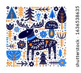 doodle poster with moose ... | Shutterstock .eps vector #1636538635