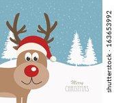 reindeer snowy background | Shutterstock .eps vector #163653992