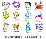 hand drawn vector horoscope...   Shutterstock .eps vector #163660946